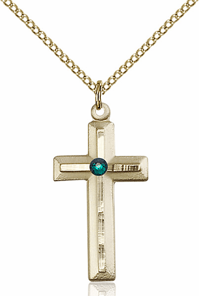 Double Etched Cross Gold-filled May-Emerald Birthstone Pendant Necklace by Bliss
