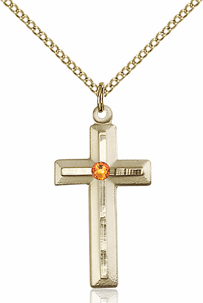 Double Etched Cross Gold-filled Nov-Topaz Birthstone Pendant Necklace by Bliss