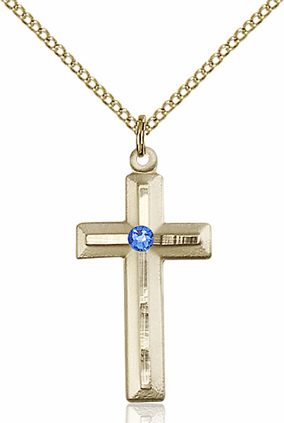 Double Etched Cross Gold-filled Sept-Sapphire Birthstone Pendant Necklace by Bliss