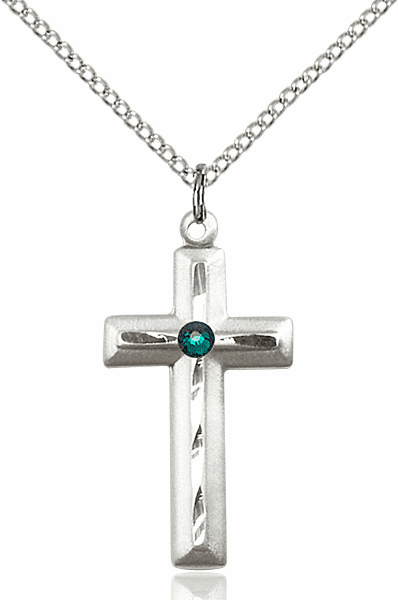 Double Etched Cross with Swarovski Crystal May-Emerald Birthstone by Bliss