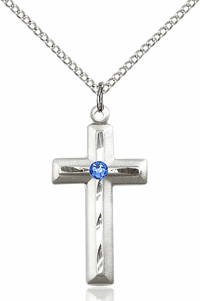 Double Etched Cross with Swarovski Crystal Sept-Sapphire Birthstone by Bliss