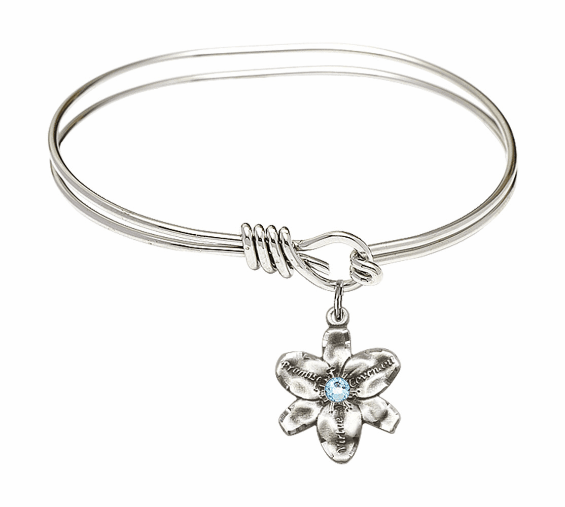 Double Loop Bangle Bracelet w/Aqua Flower Chastity Charm by Bliss Mfg