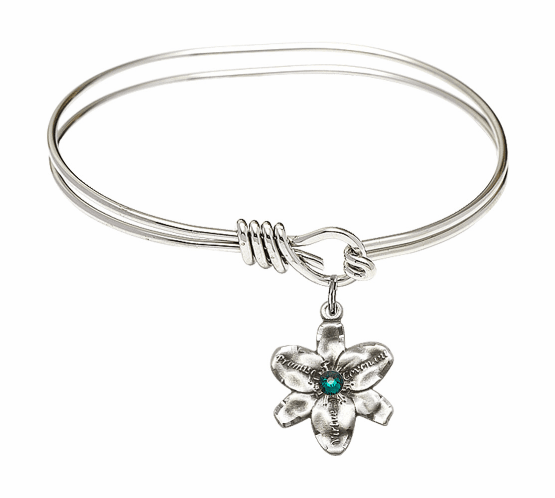 Double Loop Bangle Bracelet w/Emerald Flower Chastity Charm by Bliss Mfg