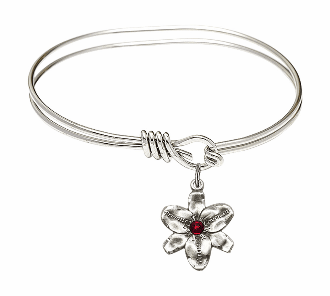 Double Loop Bangle Bracelet w/Garnet Flower Chastity Charm by Bliss Mfg