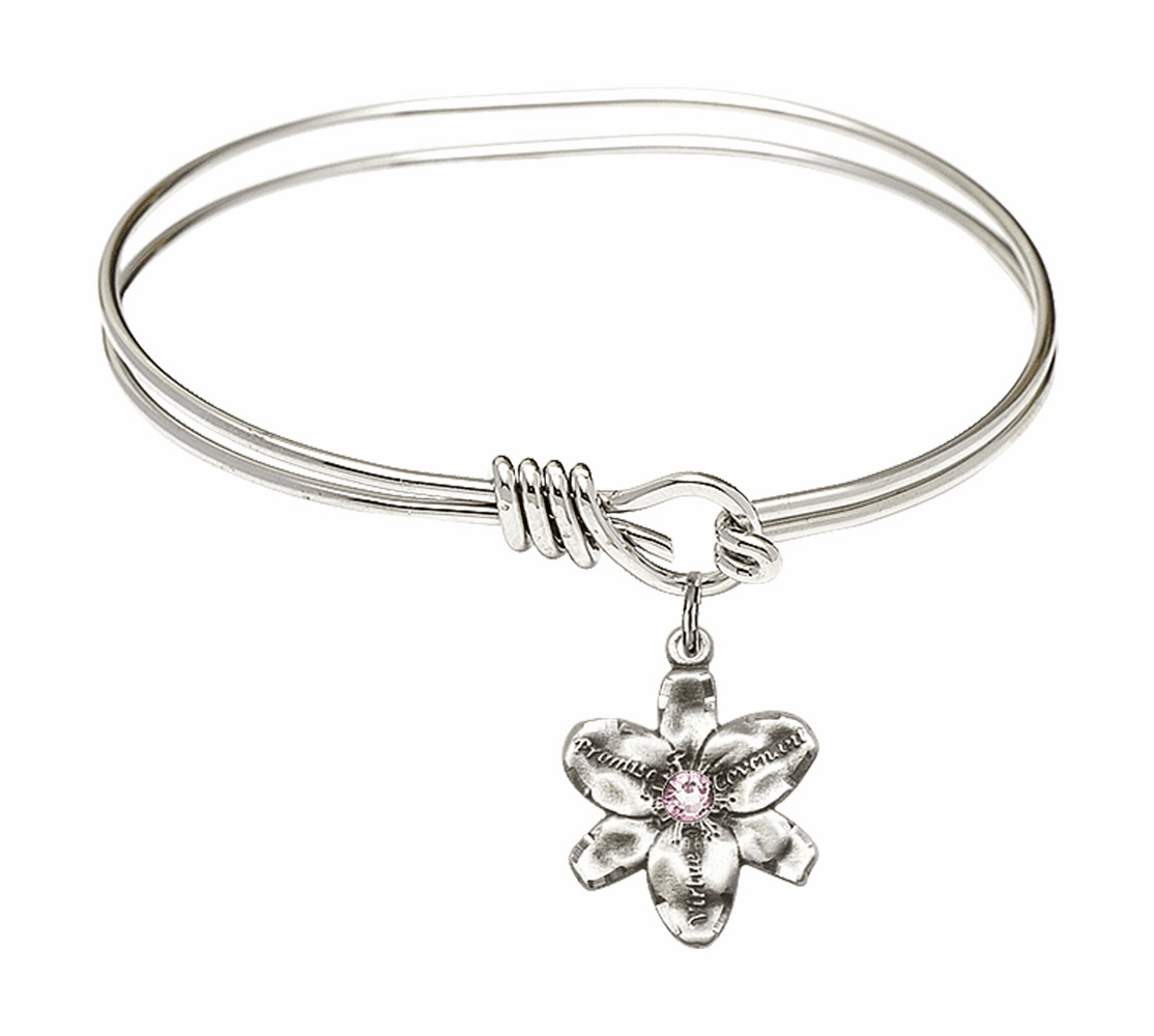 Double Loop Bangle Bracelet w/Lt Amethyst Flower Chastity Charm by Bliss Mfg