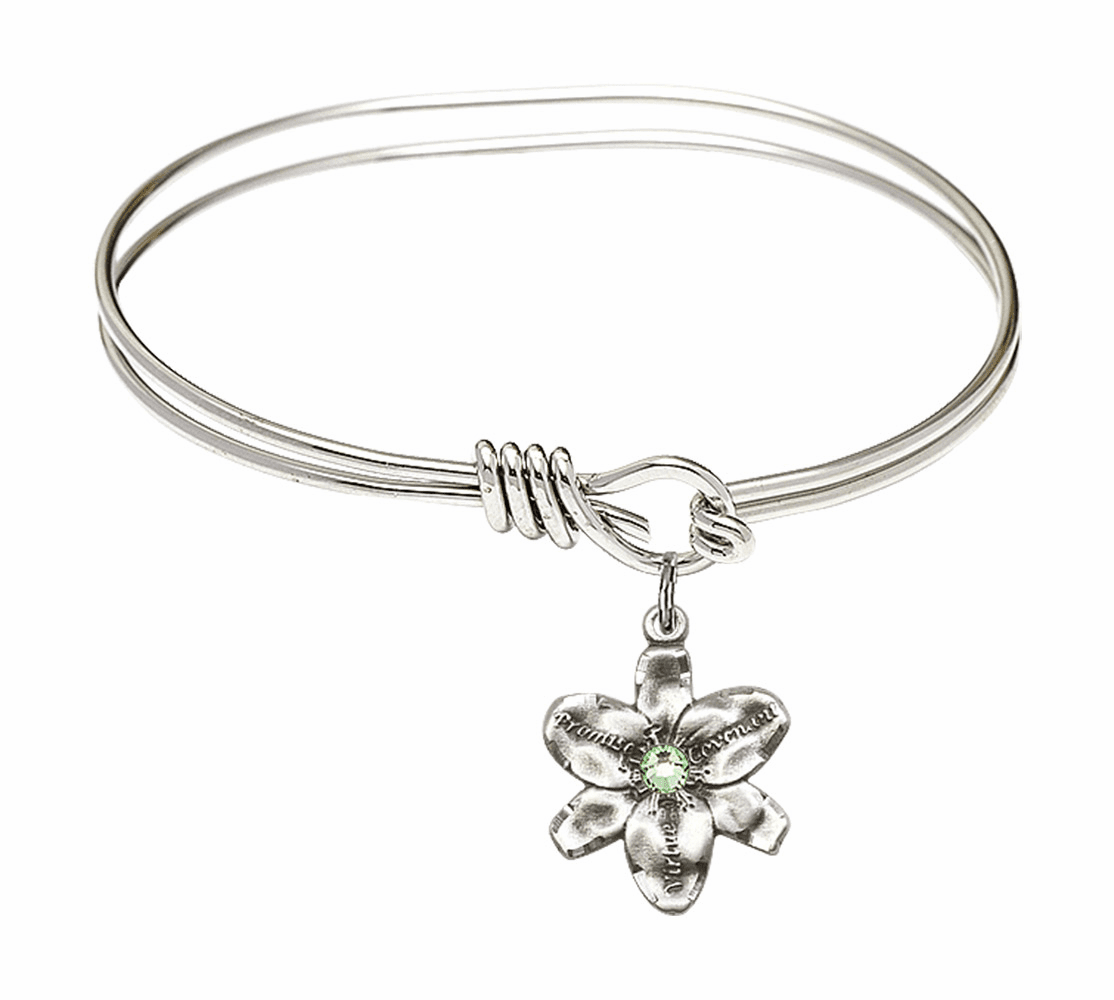 Double Loop Bangle Bracelet w/Peridot Flower Chastity Charm by Bliss Mfg