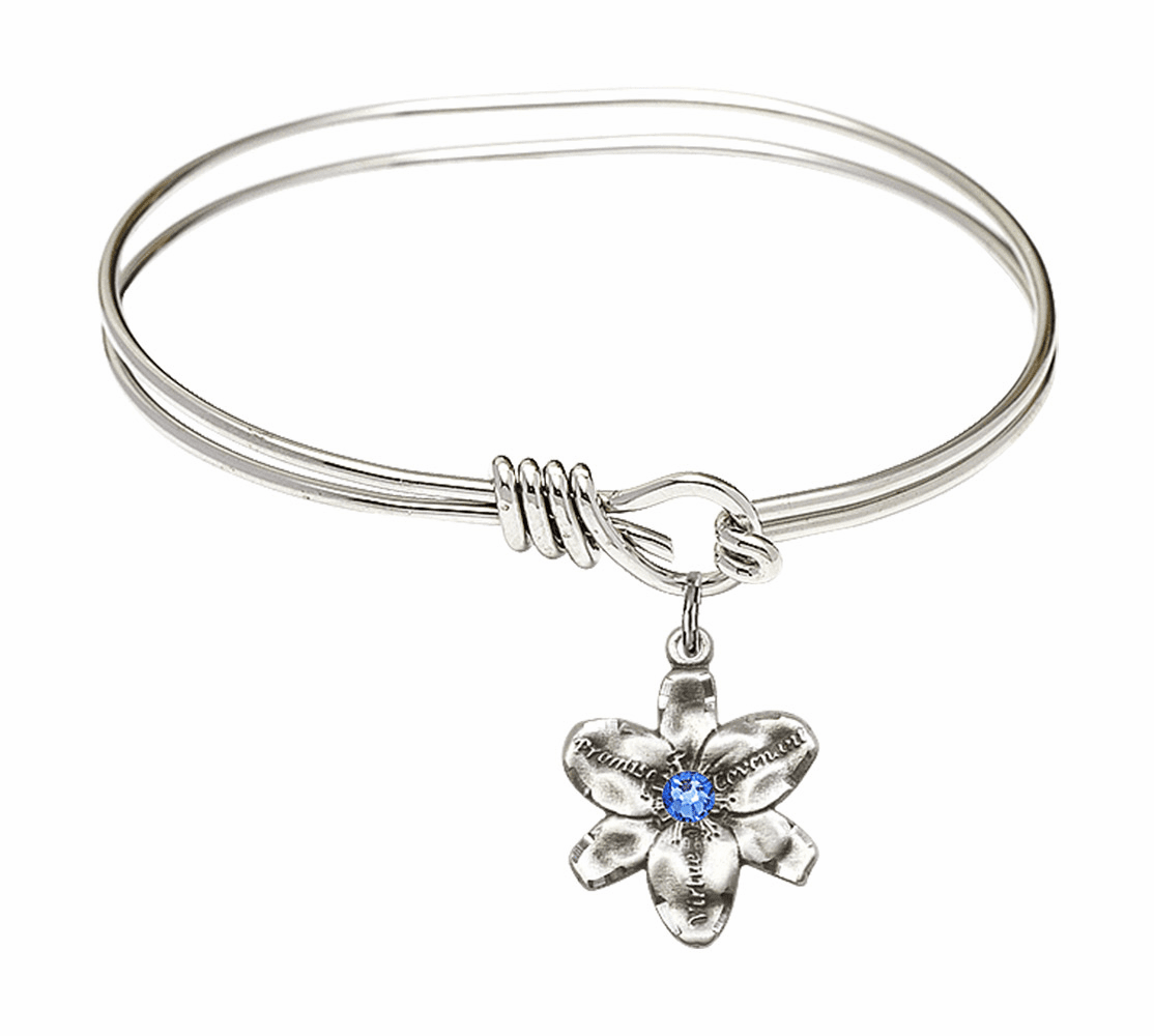 Double Loop Bangle Bracelet w/Sapphire Flower Chastity Charm by Bliss Mfg