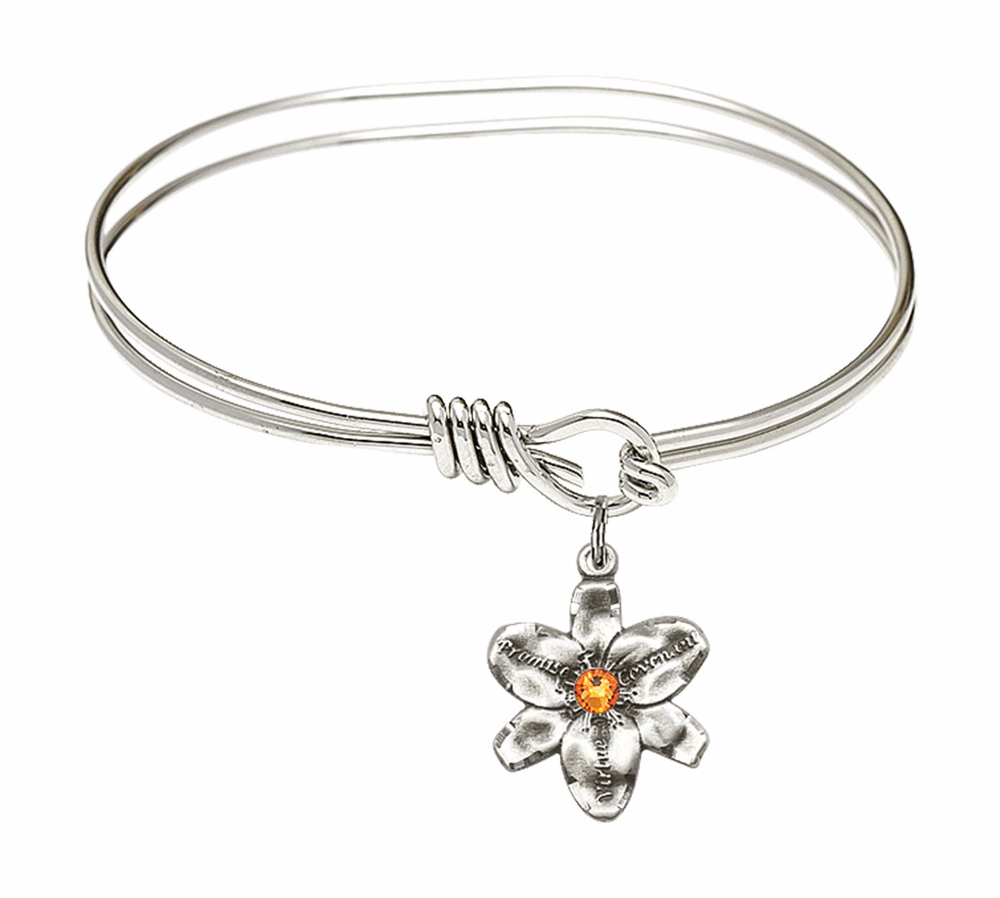 Double Loop Bangle Bracelet w/Topaz Flower Chastity Charm by Bliss Mfg