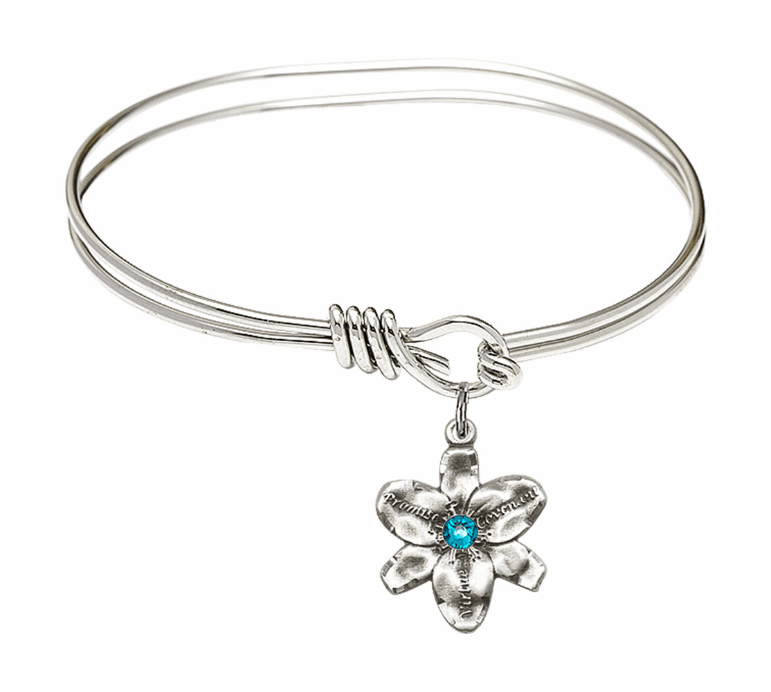 Double Loop Bangle Bracelet w/Zircon Flower Chastity Charm by Bliss Mfg