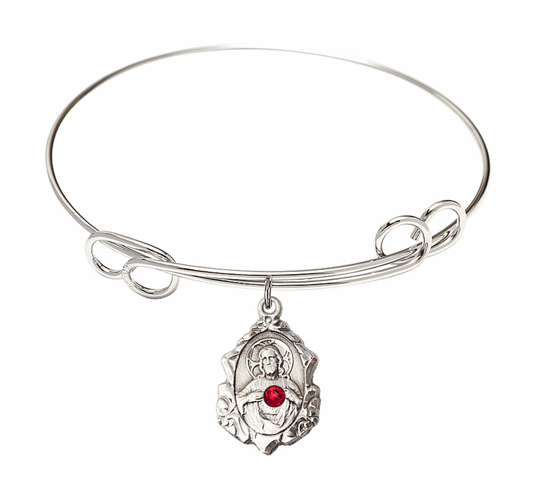 Double Loop Bangle Bracelet with a Ruby Scapular Charm by Bliss Mfg