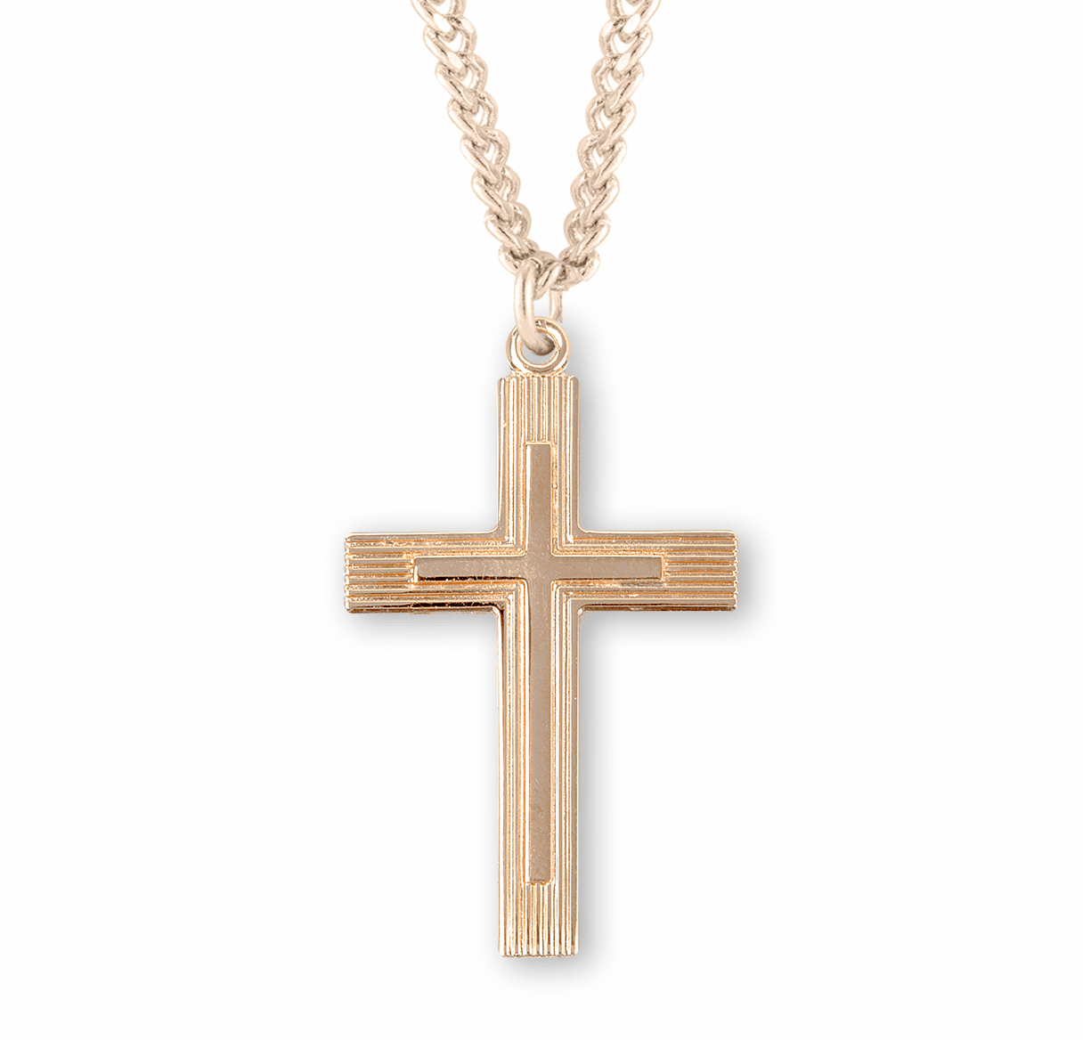 Double Medium Gold Fancy Cross Necklace by HMH Religious