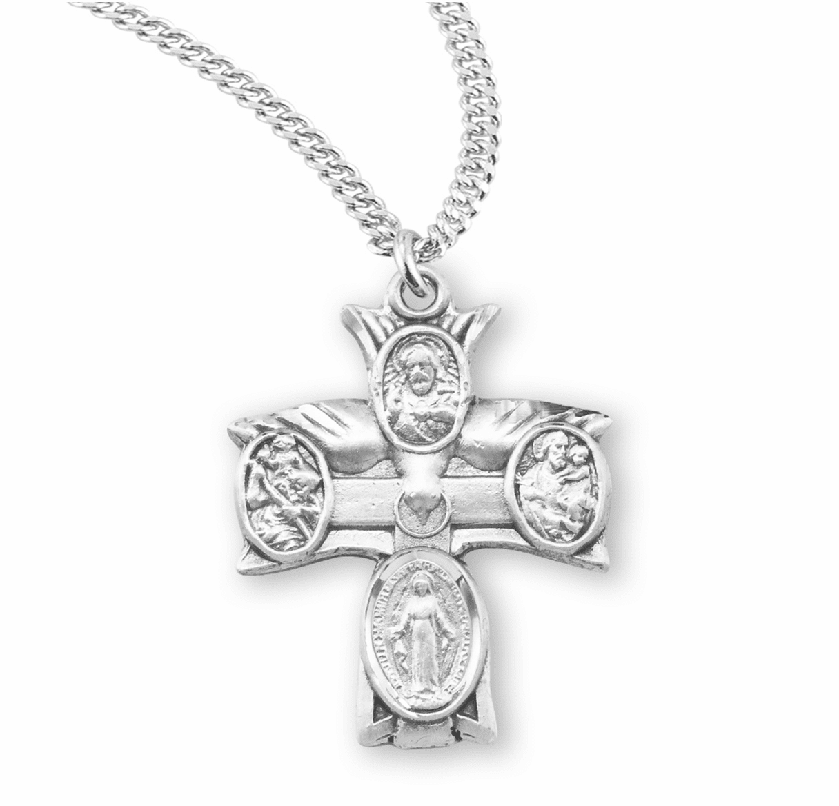 Dove 4-Way Sterling Cross Medal Necklace w/Heart Center by HMH Religious