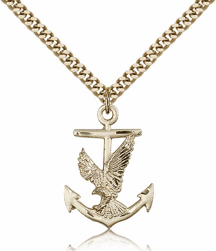 Eagle with Anchor 14kt Gold-Filled Medal Necklace by Bliss Manufacturing