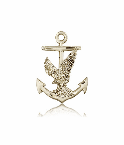 Eagle with Anchor 14kt Gold Medal Pendant by Bliss Manufacturing