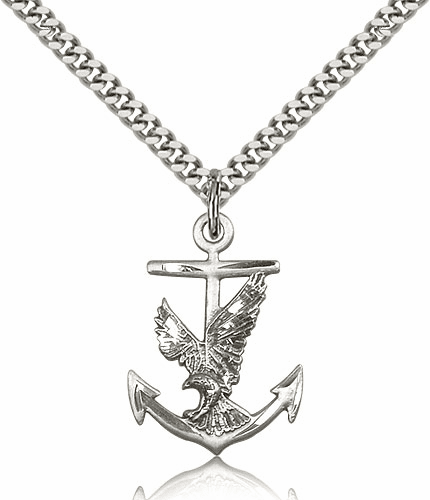 Eagle with Anchor Sterling Silver Medal Necklace by Bliss Manufacturing