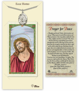 Ecce Homo Passion of Christ Pendant and Holy Prayer Card Gift Set by Bliss