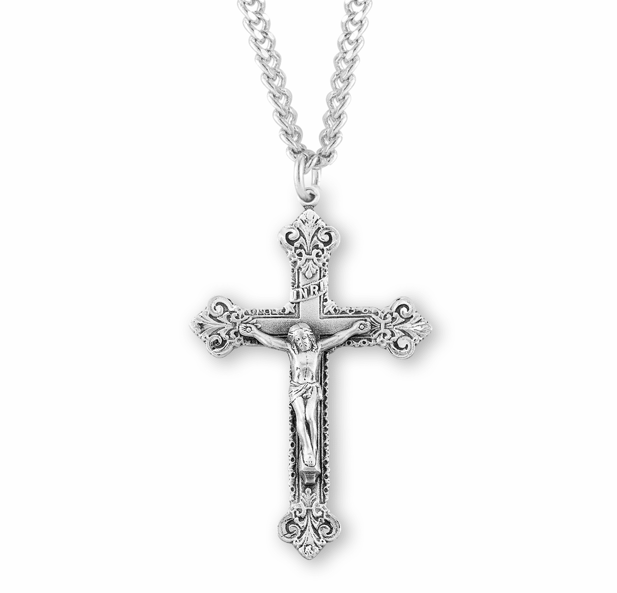 Elegant Ornate Sterling Silver Crucifix Pendant with Chain by HMH Religious