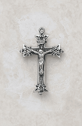 Elegant Sterling Silver Crucifix Medal Necklace by Creed Jewelry