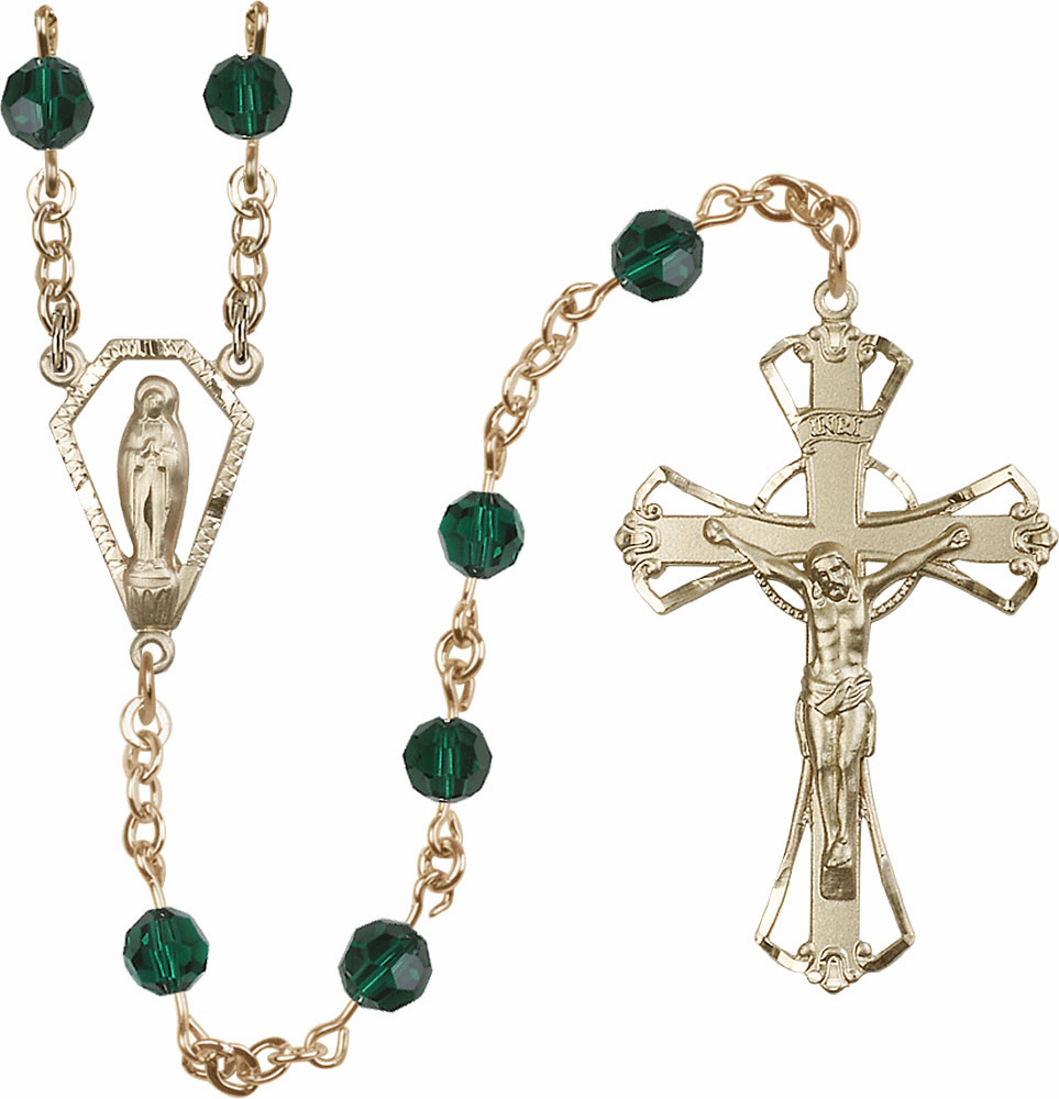 Emerald 6mm AB Swarovski 14kt Gold Praying Madonna Catholic Rosary by Bliss