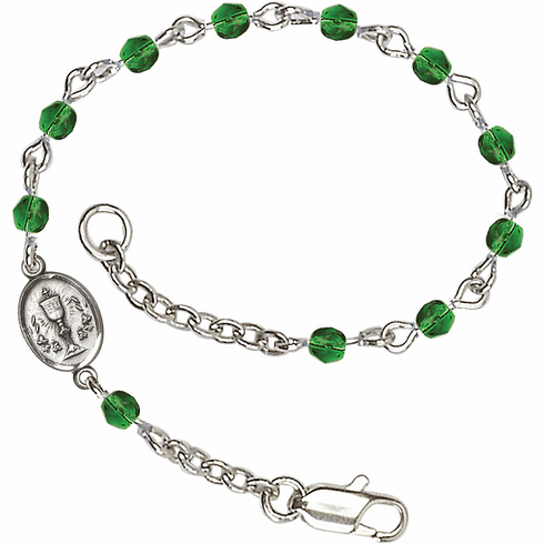 Emerald Checo Fire Polished Beads w/Pewter Communion Chalice Charm Bracelet by Bliss Mfg