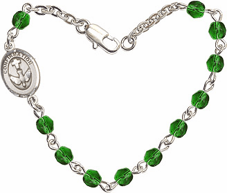 Emerald Checo Fire Polished Beads w/Pewter Confirmation Charm Bracelet by Bliss Mfg