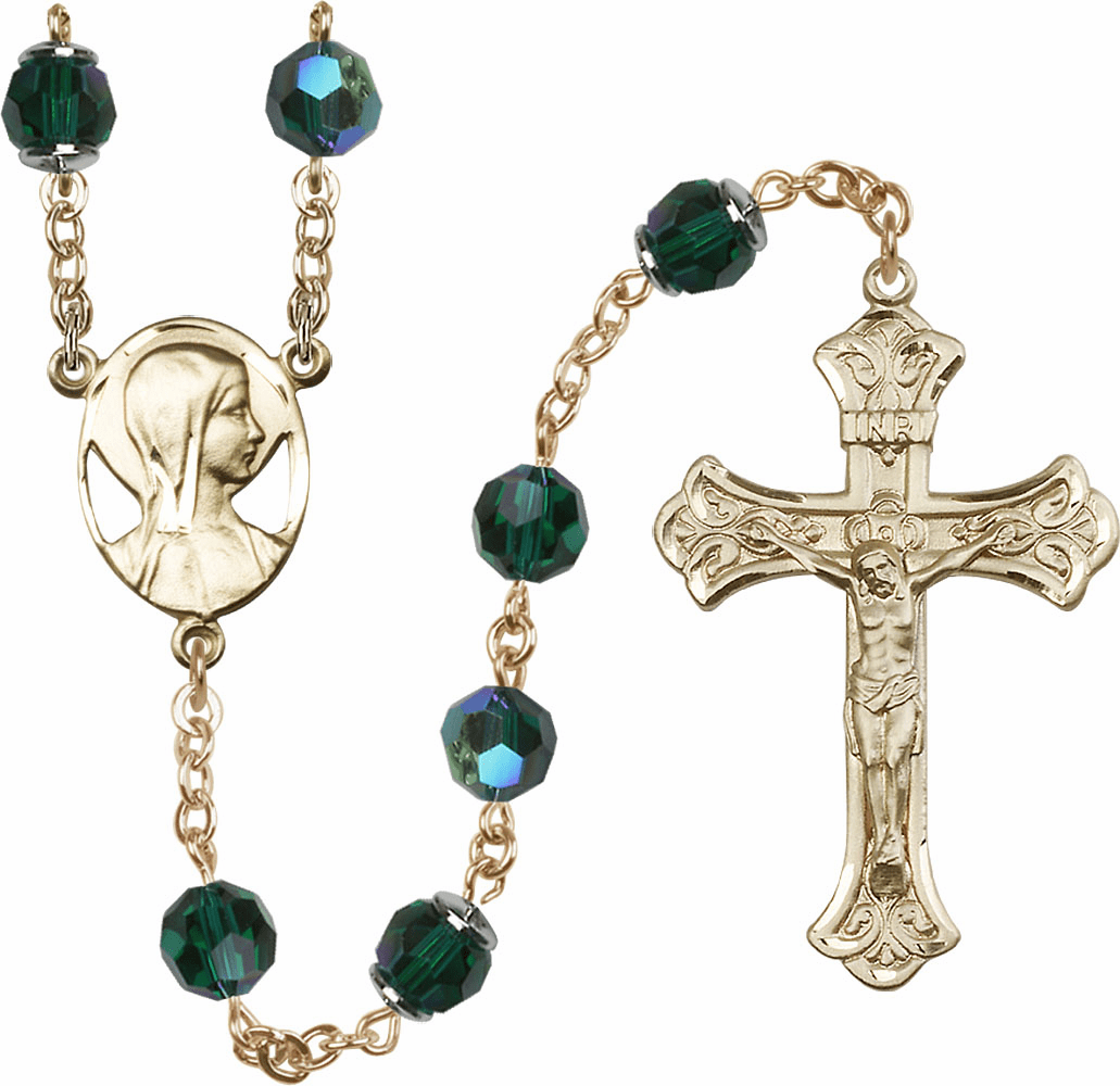 Emerald Swarovski 8mm Aurora Borealis Crystal Rosary 14kt Gold Rosary by Bliss