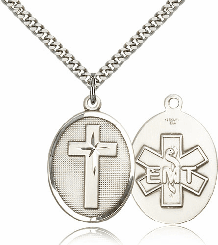 EMT Christian Silver-filled Medal Necklace by Bliss