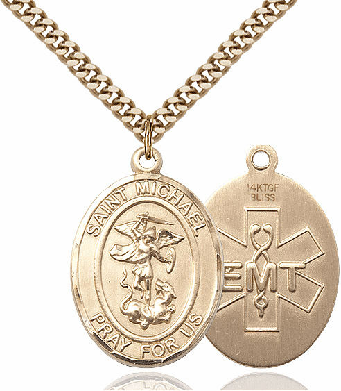 EMT St Michael Archangel 14kt Gold-filled Pendant Necklace by Bliss Mfg