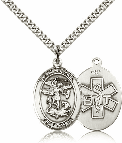 EMT St Michael Archangel Pewter Pendant Necklace by Bliss Mfg