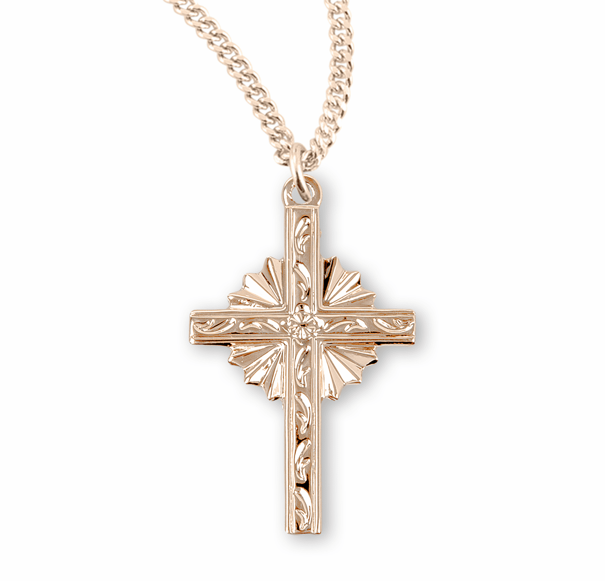 Engraved Vine Design Gold Fancy Cross Necklace by HMH Religious