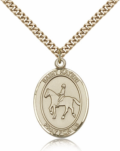 Equestrian St Kateri Medals and Beaded Necklace Jewelry