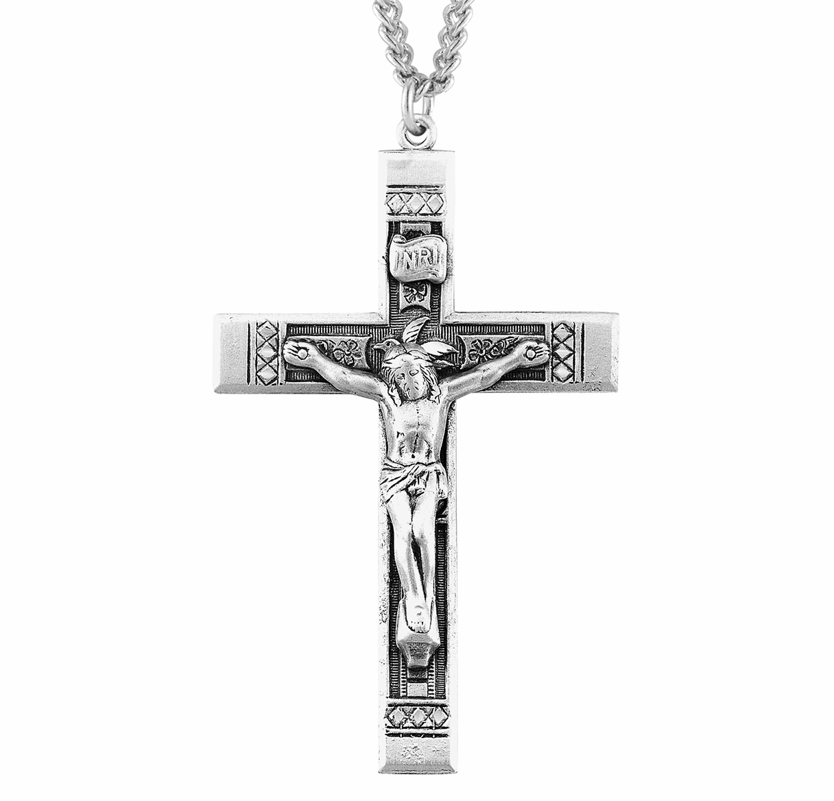 Etched Cross w/INRI and Flowers Sterling Crucifix Necklace by HMH Religious