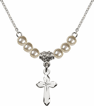 Etched Star Cross Charm w/Faux Pearl Beads Necklace by Bliss Mfg