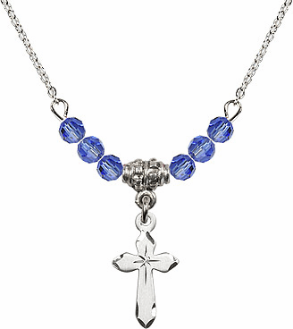 Etched Star Cross Charm w/Sapphire Cystal Beads Necklace by Bliss Mfg