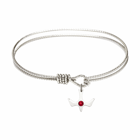 Eye Hook Bangle Bracelet w/Ruby Holy Spirit Charm by Bliss Mfg