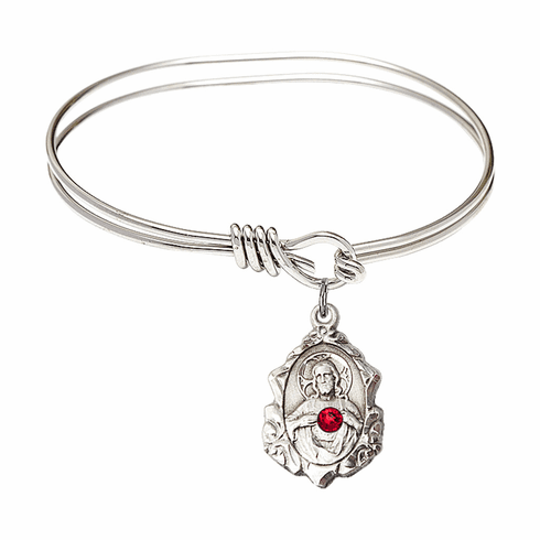 Eye Hook Bangle Bracelet with a Ruby Scapular Charm by Bliss Mfg