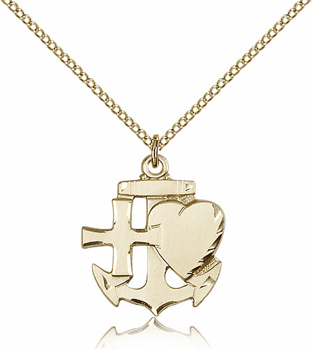 Faith Hope Charity 14kt Gold-Filled Medal Necklace by Bliss Manufacturing