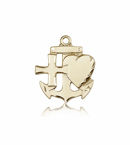 Faith Hope Charity 14kt Gold Medal Pendant by Bliss Manufacturing