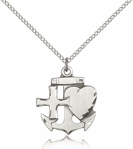 Faith Hope Charity Sterling Silver Medal Necklace by Bliss Manufacturing