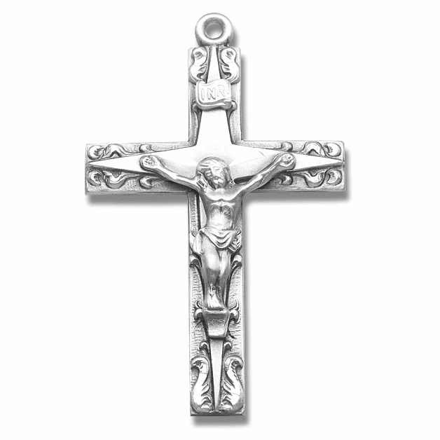 Fancy Double Cross Sterling Silver Crucifix Rosary Part by HMH Religious