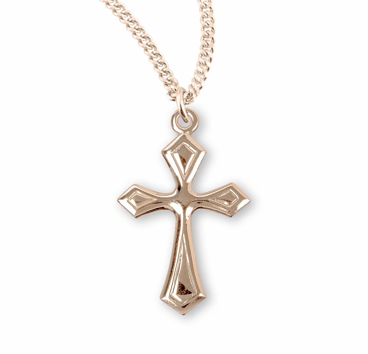 Fancy Flared Gold Relgious Cross Necklace by HMH Religious