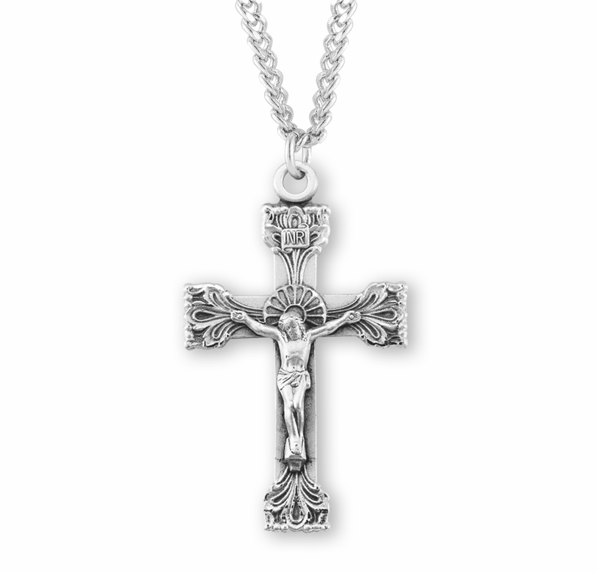 Fancy Halo with Ornate Tip Sterling Silver Crucifix Pendant by HMH Religious