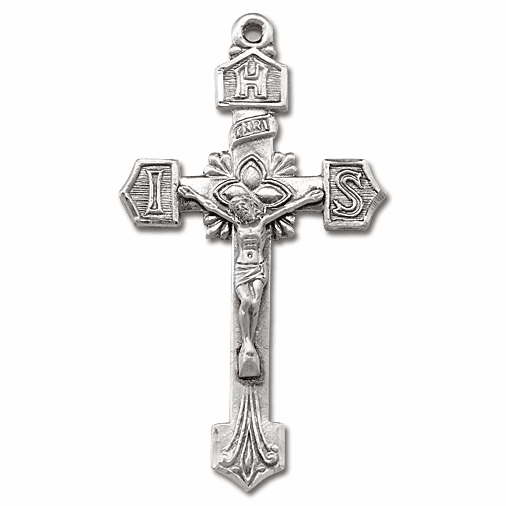 Fancy IHS Sterling Silver Crucifix Rosary Part by HMH Religious