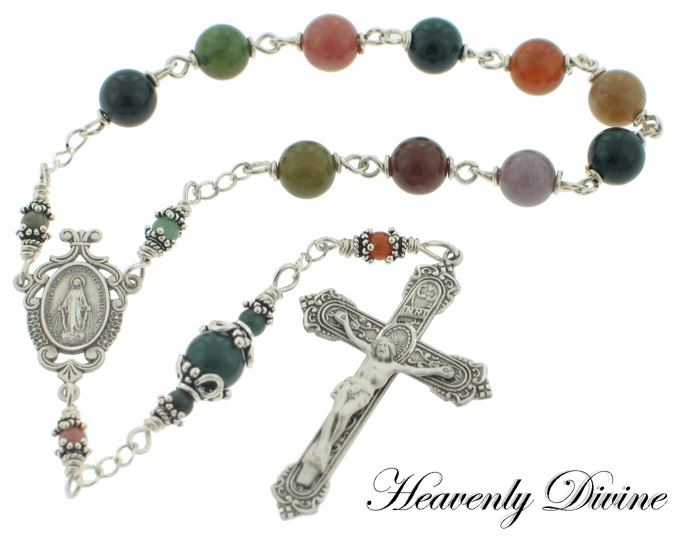 Fancy Jasper & Sterling Silver Wire Wrapped Pocket Rosary by Heavenly Divine