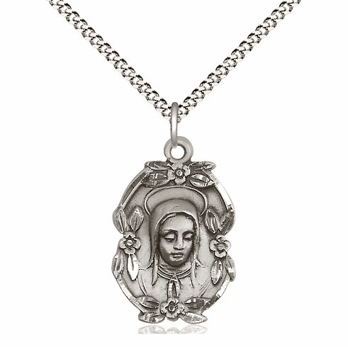 Fancy Madonna-Mary Floral Sterling Silver Medal by Bliss