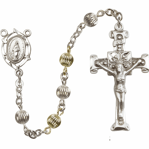 Fancy Miraculous Medal Corrugated Sterling Silver and Gold-filled Rosary
