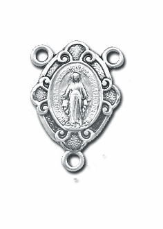 Fancy Miraculous Medal Sterling Silver Rosary Center Parts by HMH Religious