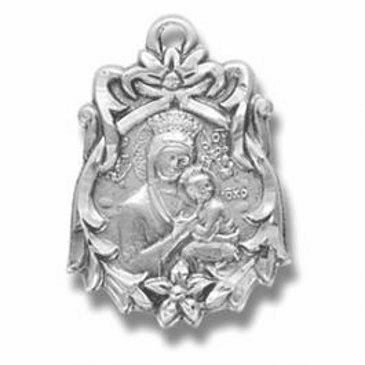 """Fancy Our Lady of Perpetual Help Medal w/18"""" Chain Necklace by HMH Religious"""