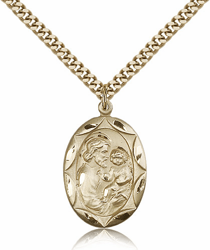 Fancy Oval St Joseph Patron Saint Medal by Bliss Manufacturing
