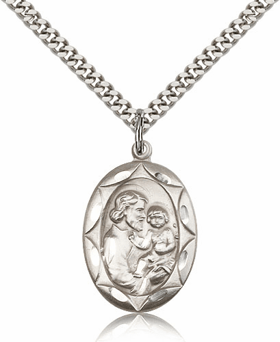 Fancy Oval St Joseph Patron Saint Silver Saint Medal by Bliss Manufacturing